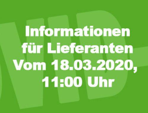 Informationen für Lieferanten vom 18.03.2020 11:02